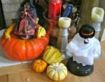 Halloween witch, pumpkin, ghost, gourds