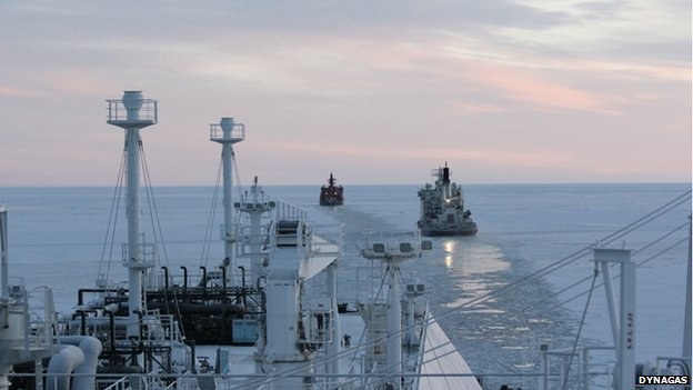 BBC News - Gas tanker Ob River attempts first winter Arctic crossing