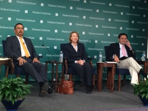 l. to r. Husain Haqqani (Hudson Institute), Carlotta Gaul (New Yotk Times), Mohammad Taqi (author and analyst) - photo Russ Imrie